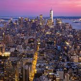 Sunset over Lower Manhattan from Empire State Building Observation Deck