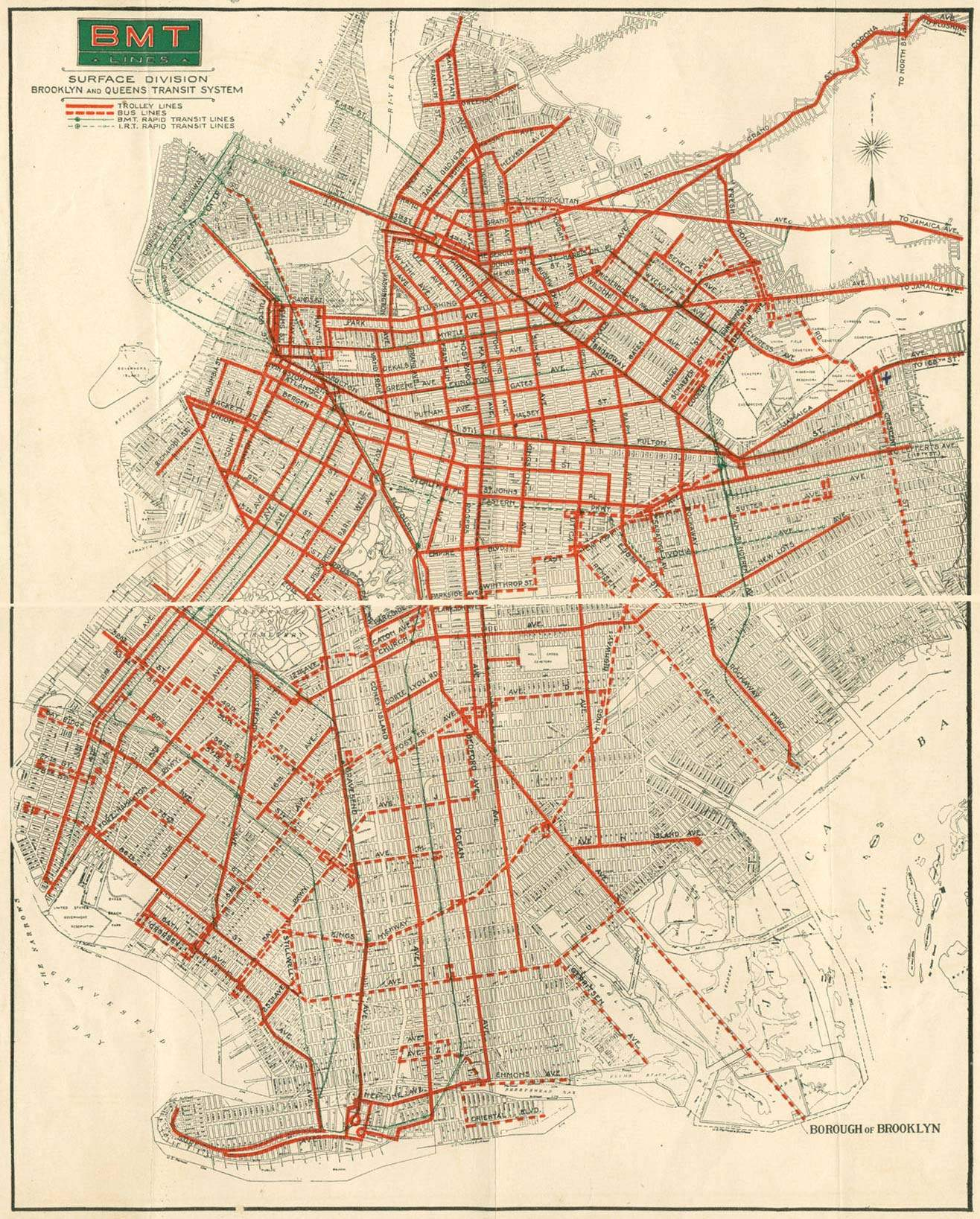 Map Porn Vintage Brooklyn Trolly System Map Circa 1930