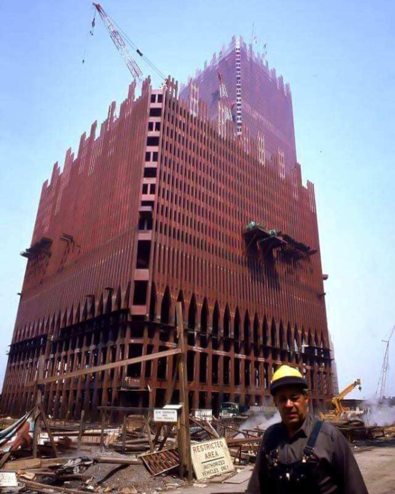 Construction of the Twin Towers at the World Trade Center site, 1970.