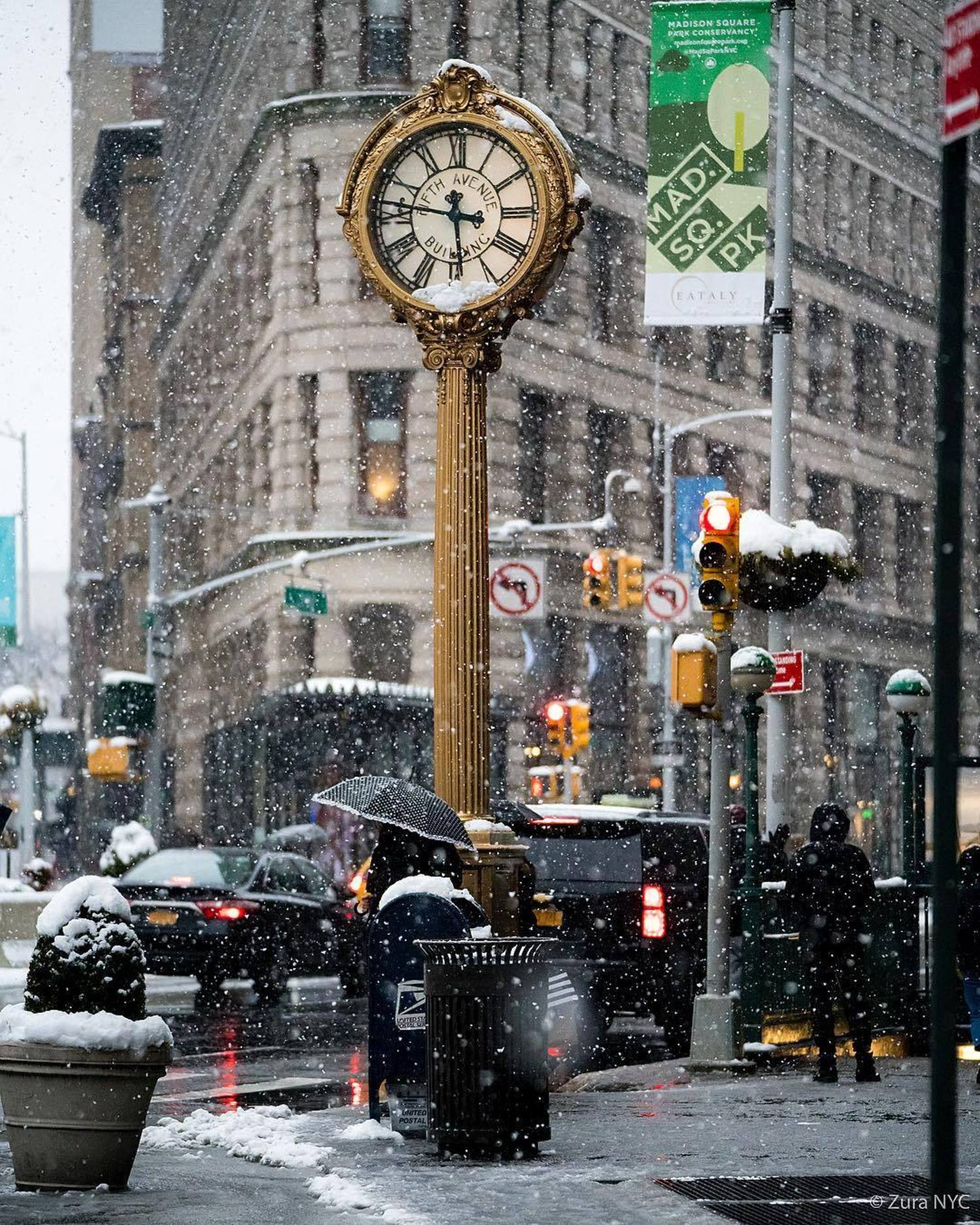 Flatiron District during the snowstorm