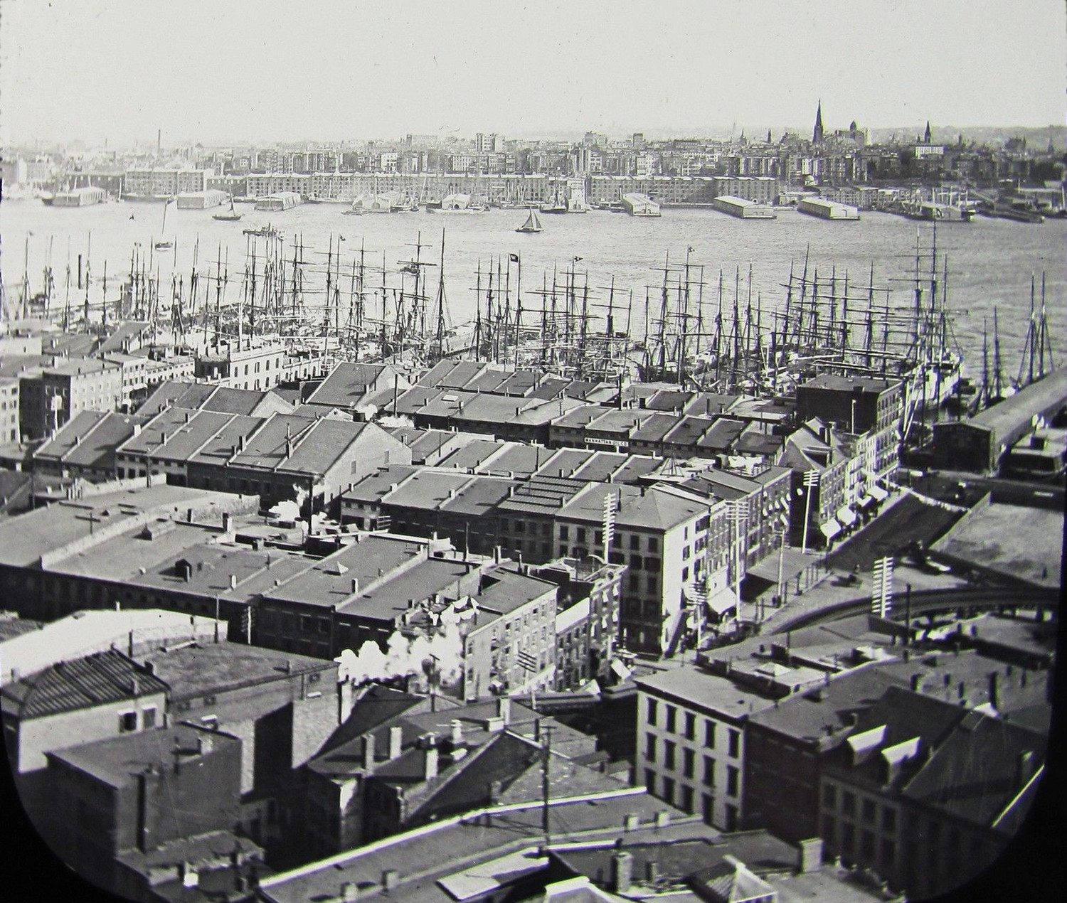 A Very Early View of Lower Manhattan Looking East Towards The East River & Brooklyn circa 1892