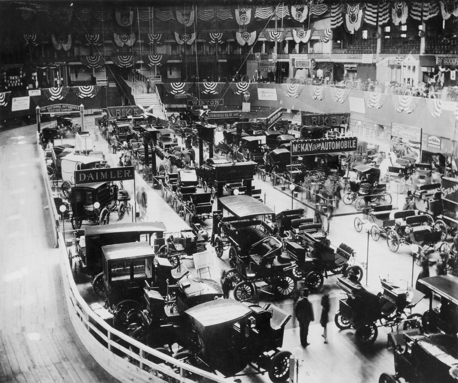 Vintage Photograph Of First Significant Car Show In U S At Madison Square Garden In 1900