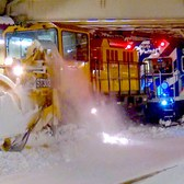 ⁴ᴷ Winter Storm Jonas: Snow Thrower Trains on the Brighton Line