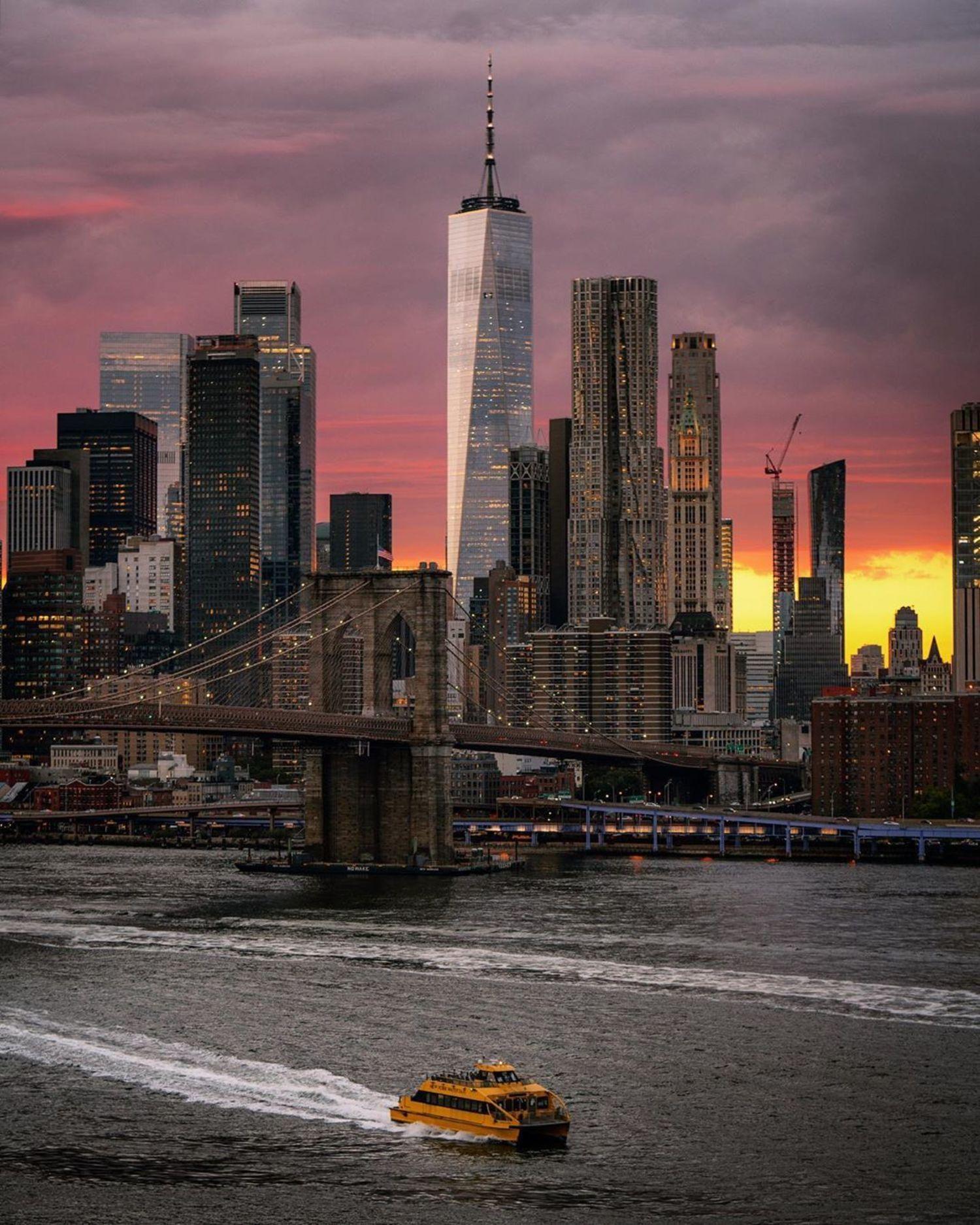 Sunset Over Brooklyn Bridge and Lower Manhattan