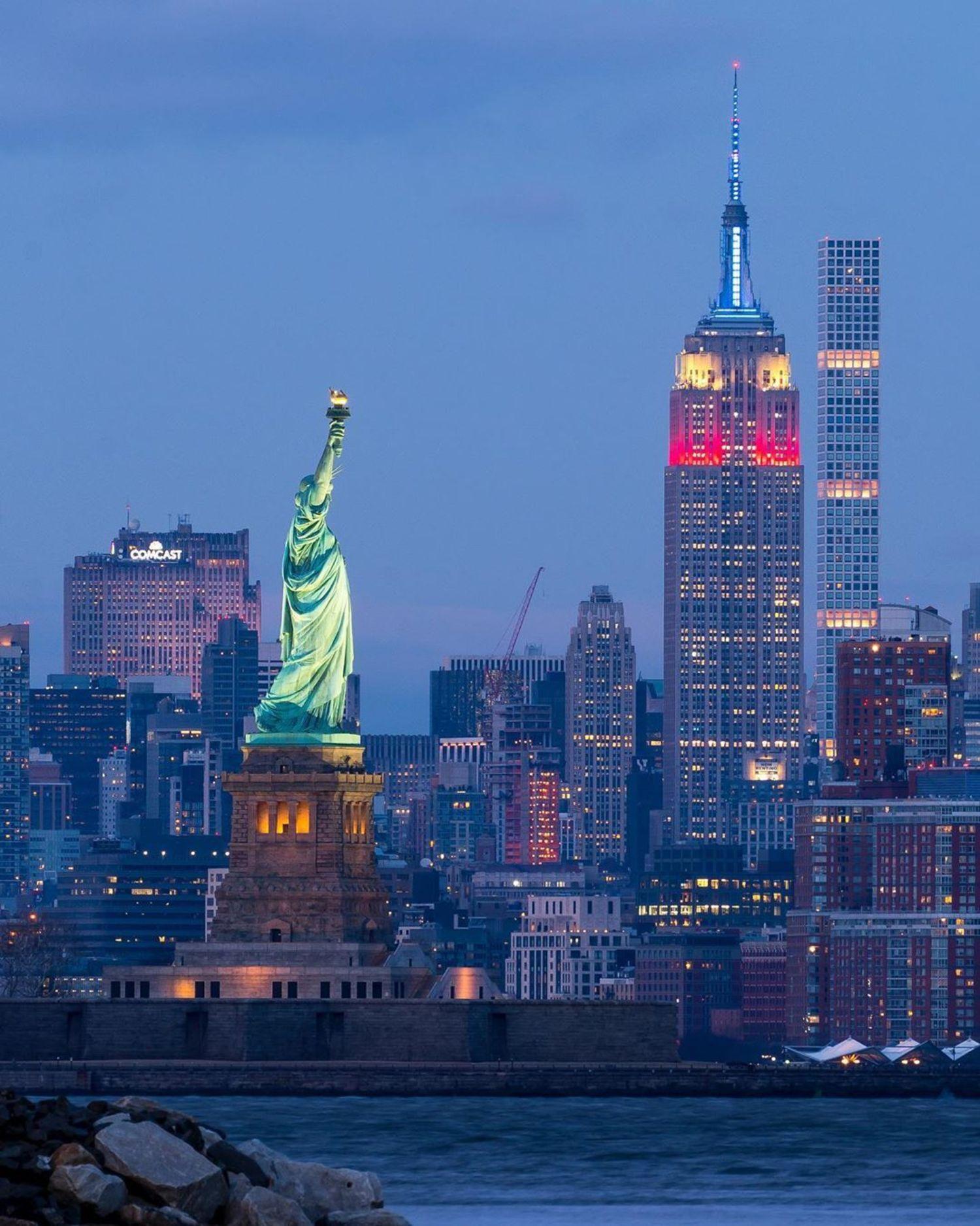 New York Harbor, Liberty Island, and Lower Manhattan