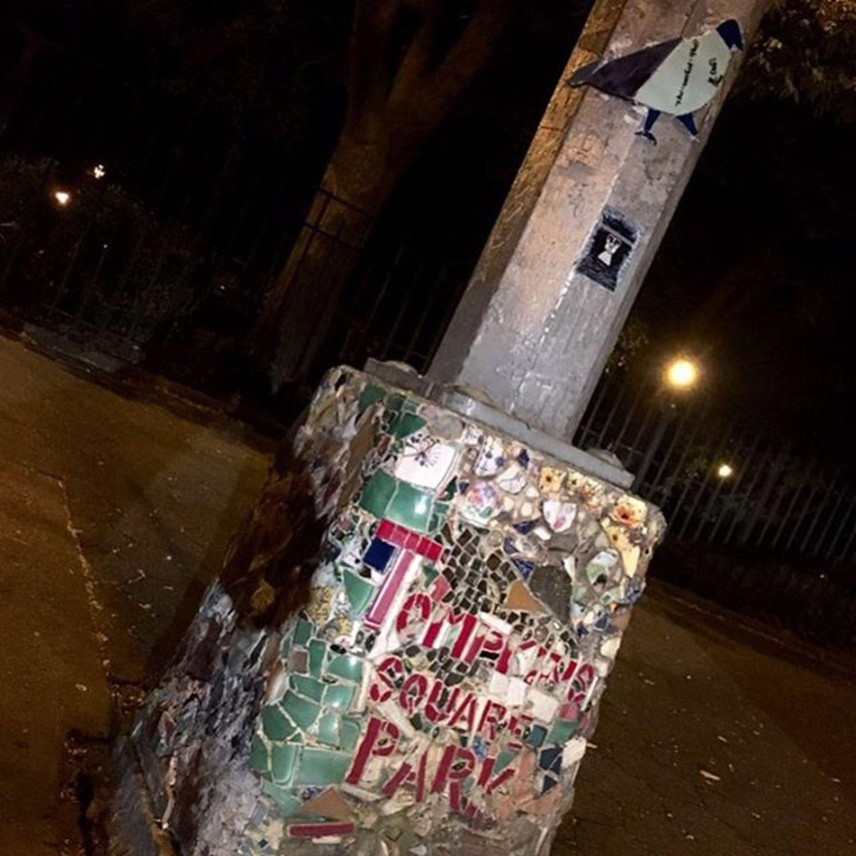 Pigeon 50 - St. Marks Pl @ 1st Ave #pigeon #tomkinssquarepark #nyc #streetlight #streetart #original #glass #art #grafitti #nycstreetart #wheatpaste #thestreetsofnyc #eastvillage #mosaic #streetlightpigeon #gbpigeonnyc #gbwashere