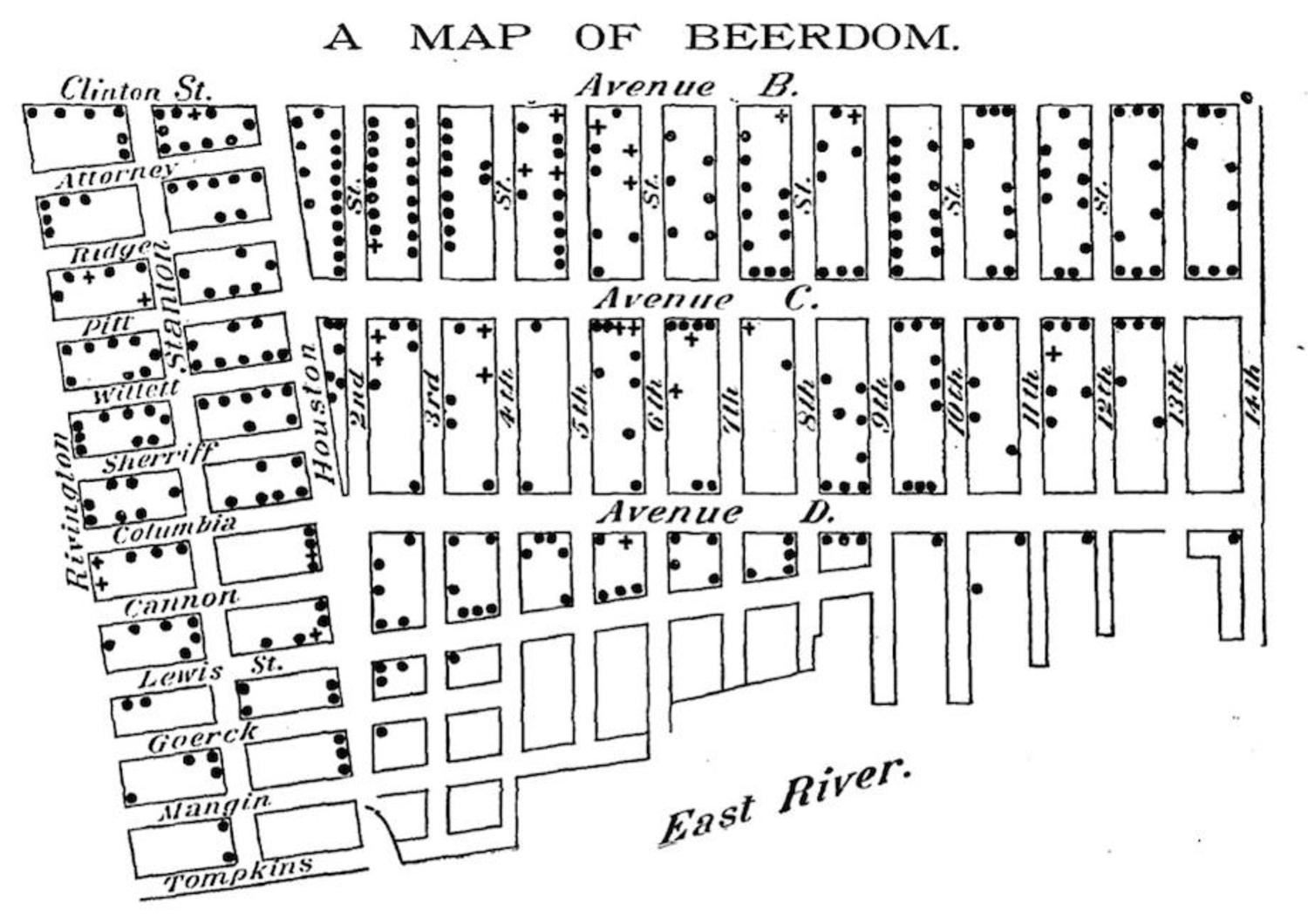 A Map of Beerdom, Lower East Side, New York City, 1885