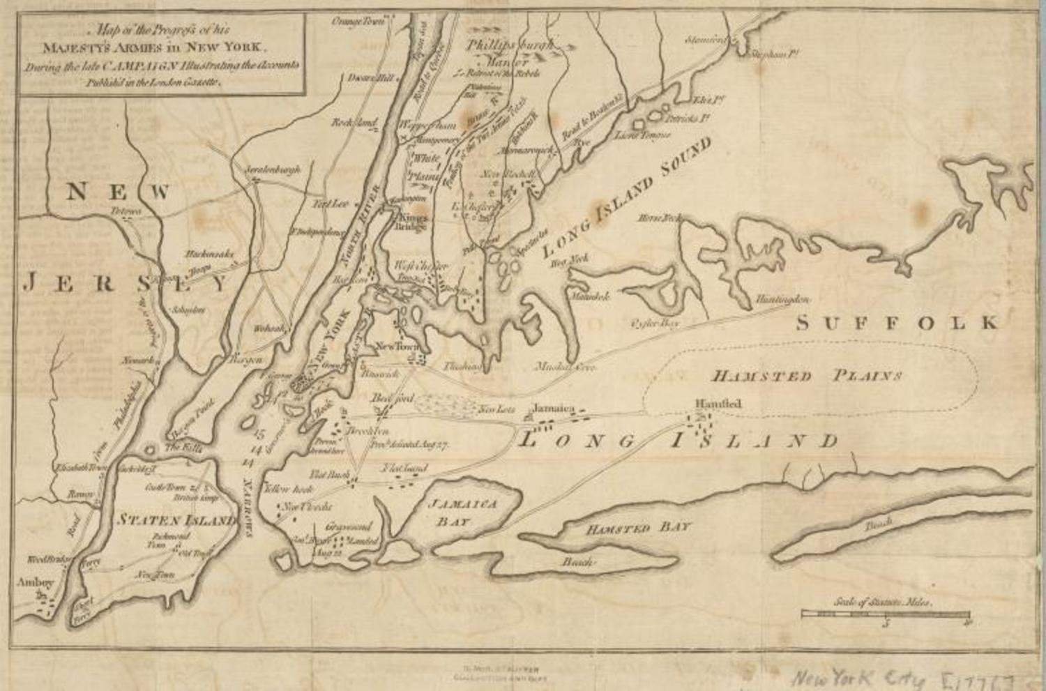 Map of the progress of His Majesty's armies in New York during the late campaign: illustrating the accounts publish'd in the London Gazette (1776)