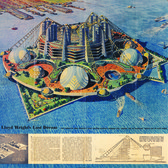 """In 1959, a dying Frank Lloyd Wright envisioned Ellis Island as a """"Jules Verne-esque"""" car-free community, with residences, shops, theaters, schools, and churches contained within """"glassy, air-conditioned domes"""" and """"corrugated, candlestick-shaped towers."""""""