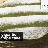 This is a gigantic matcha crepe cake