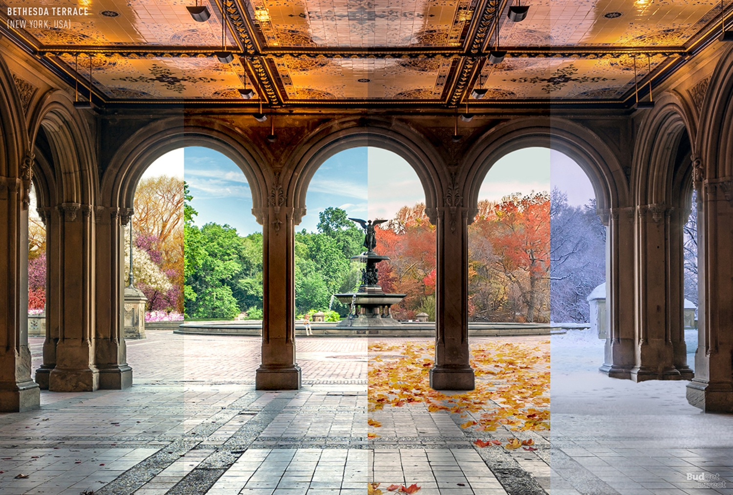 4 Seasons of Bethesda Terrace, Central Park, New York, New York