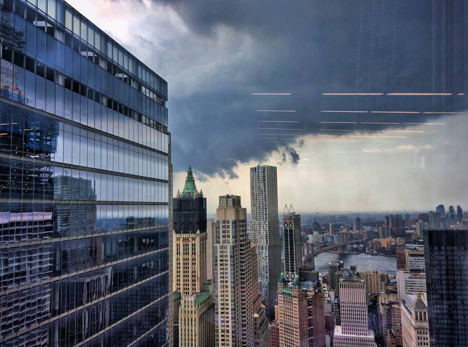 The storm encroaches.  #nyc #storm #rain #wtc #cl#cloudporn