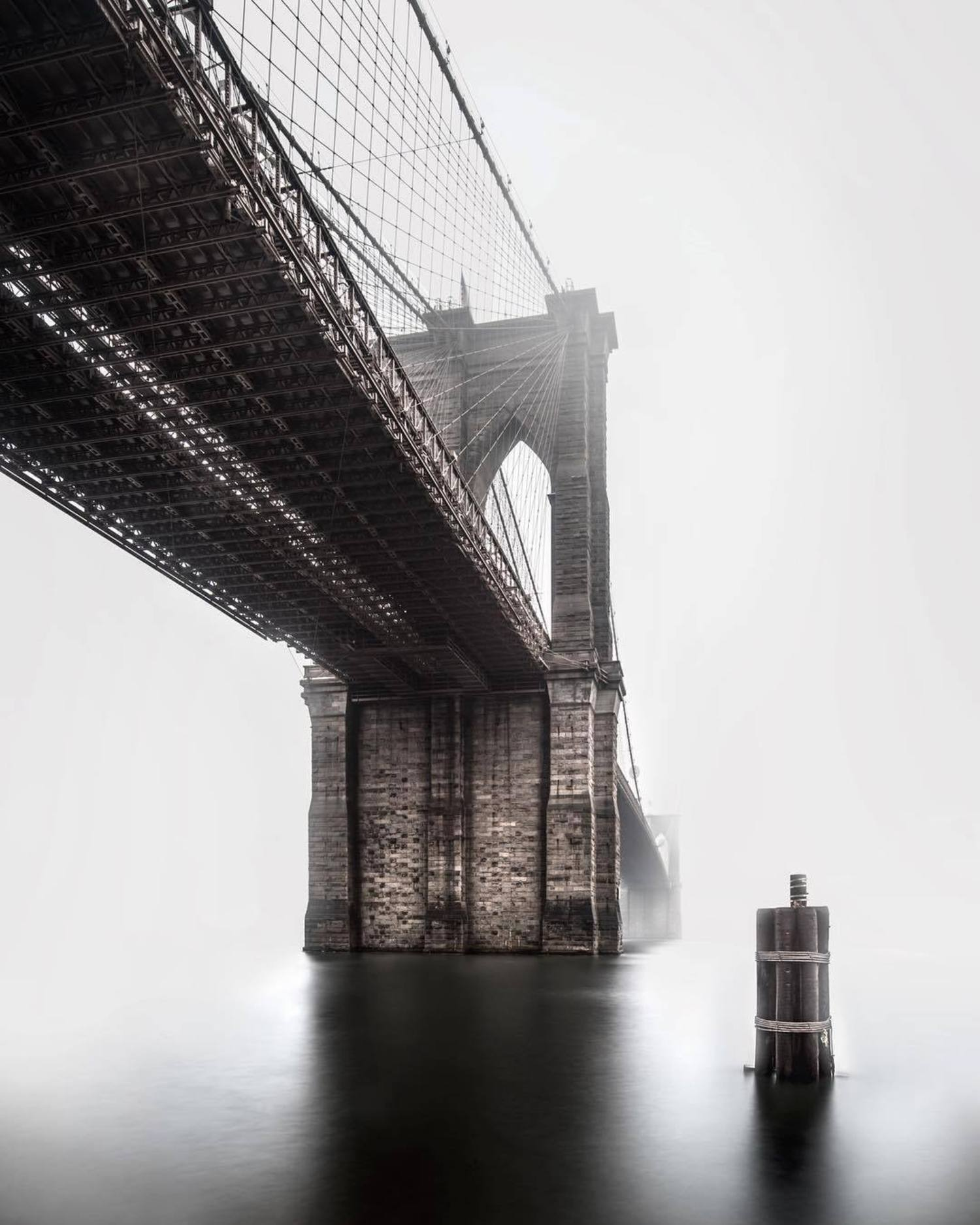 Brooklyn Bridge, New York. Photo via @rwakeland #viewingnyc #newyork #newyorkcity #nyc #brooklynbridge #fog