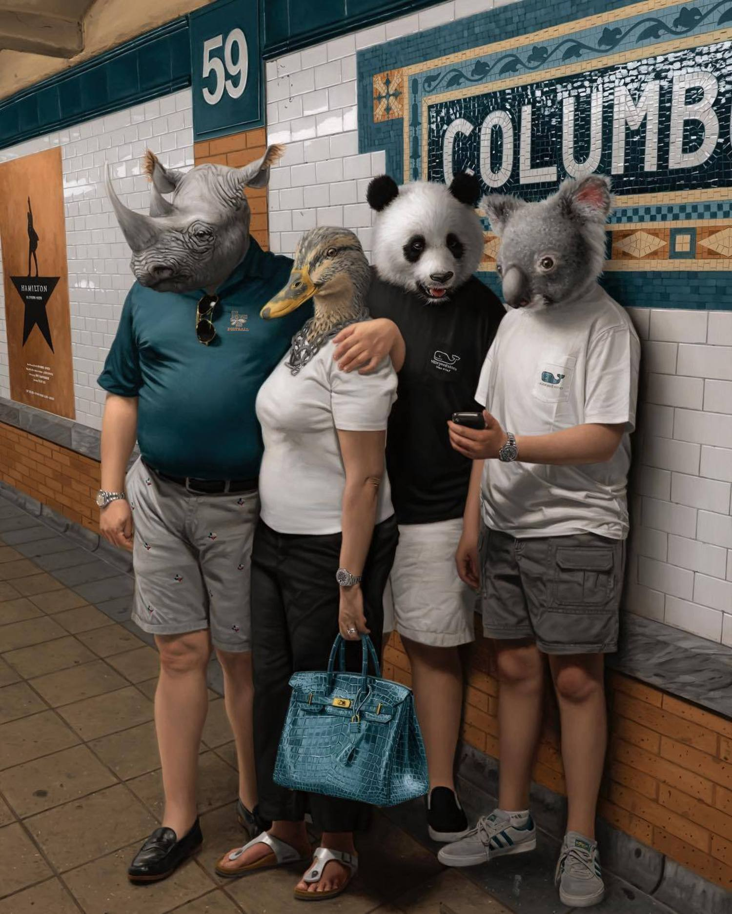 It's summer vacation and this family is waiting for the train at Columbus Circle to start a fun New York adventure! This is the first piece I've done with different animals. 🦏🦆🐼🐨 While I was painting I was thinking about how each animal captured the specific personality of the person. A fun little detail: all the animals are herbivores and yet the mother's bag is alligator skin. A little twist to predator/prey dynamic. At 40 x 55 inches this is one of the largest oil paintings I've made to date.