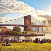 Enjoying Brooklyn Bridge Park and its great view of the Brooklyn Bridge, New York City