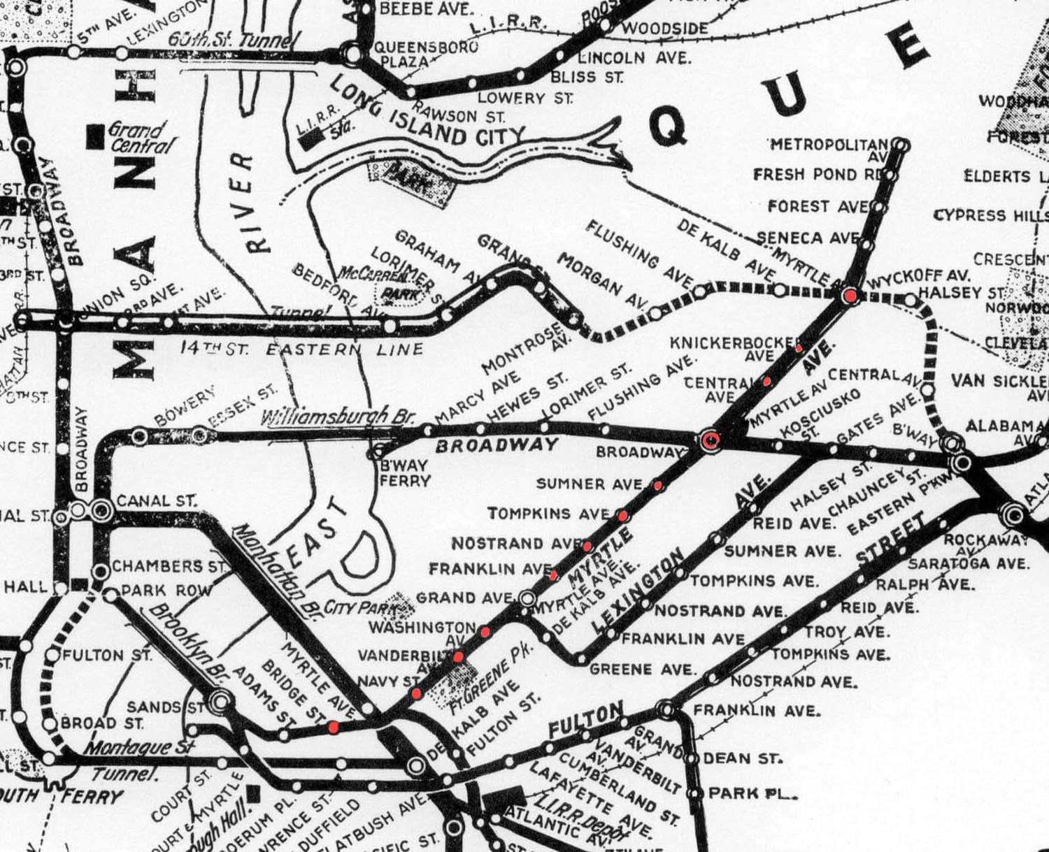 A 1924 map of the BMT system, stops in red are Brooklyn stops still active in 1969.