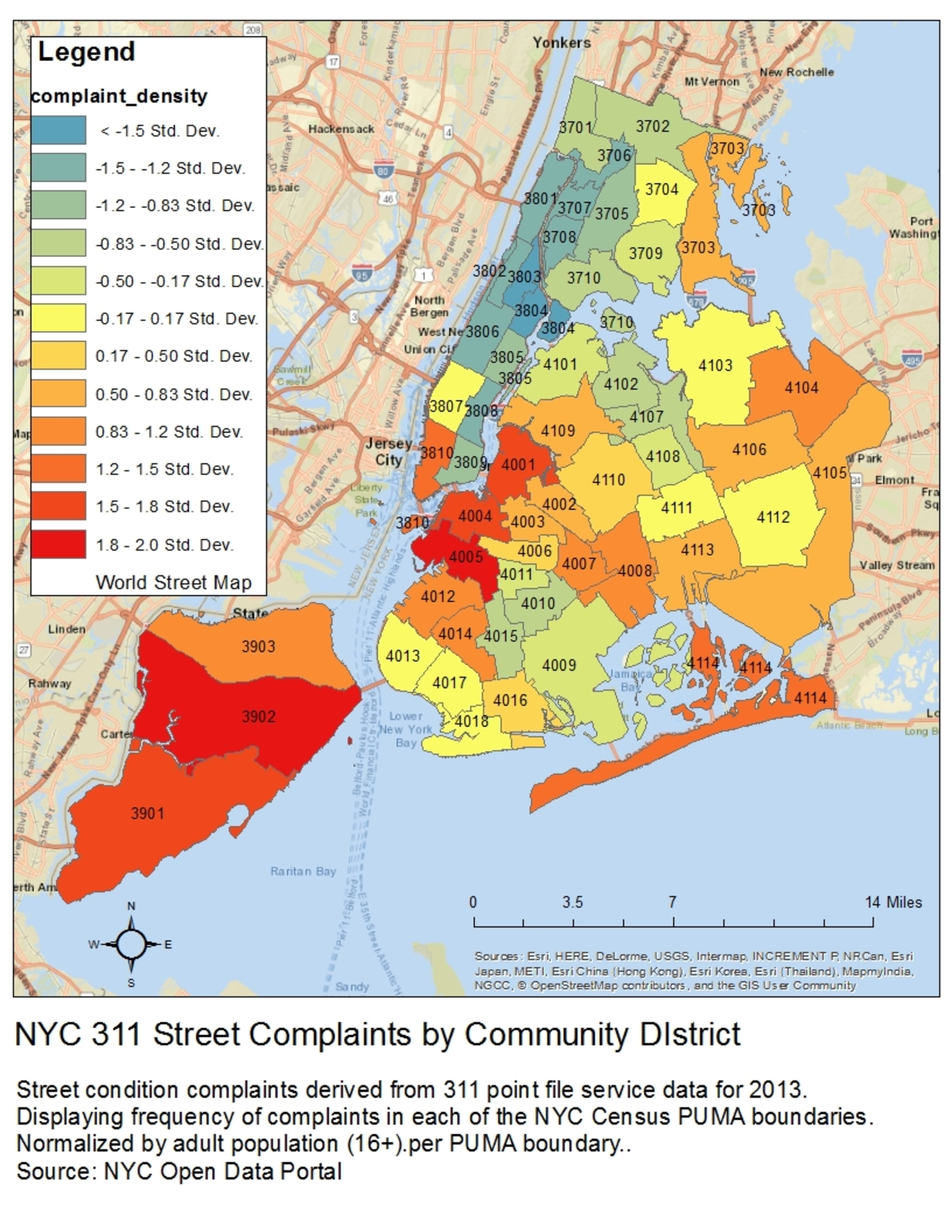 Map Heat Map Of New York City S 311 Street Complaints By Community