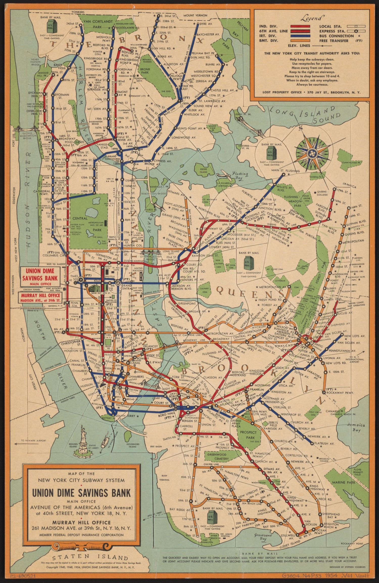 Queens And Manhatan Subway Map.Maps Vintage Map Shows New York City Subway System In 1954