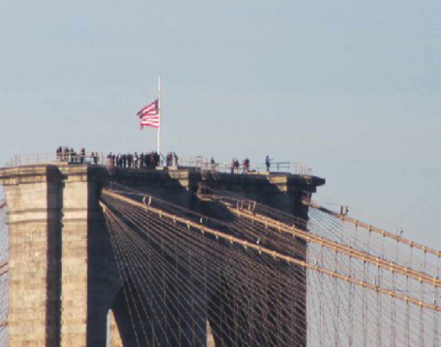 Crowd Atop Brooklyn Bridge Tower Yesterday Was For Police Drill