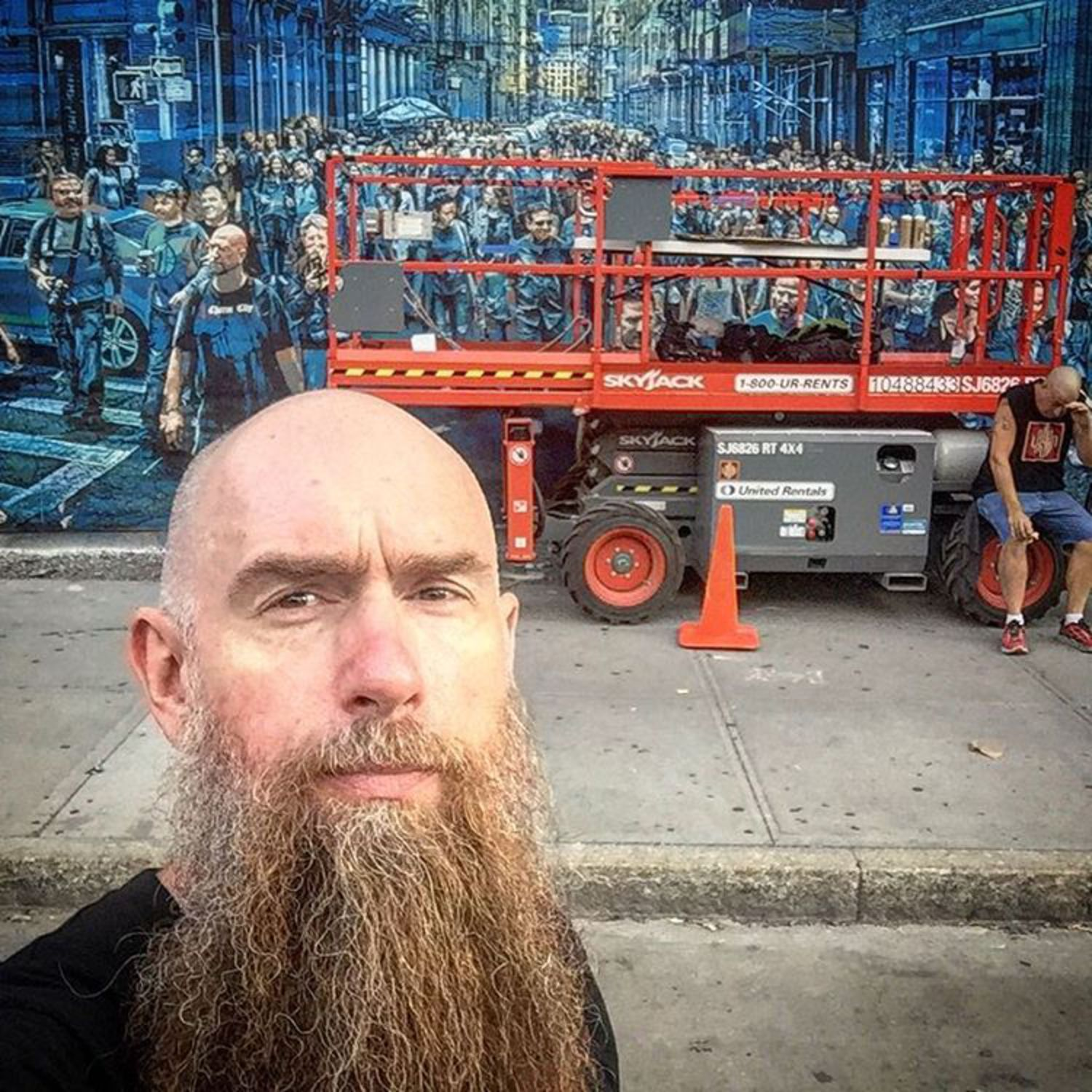 See that man in the background to the right?  That's @clif.king52 and we broke him.  Had a 5am start this morning on the home stretch to the finish today.  Painting the last layer as I type this.  If you're in the hood stop by.  We will probably finish up around 2pm today if all goes well.  #cantstopwontstop #nevernotworking #bowerymural #bowerywall