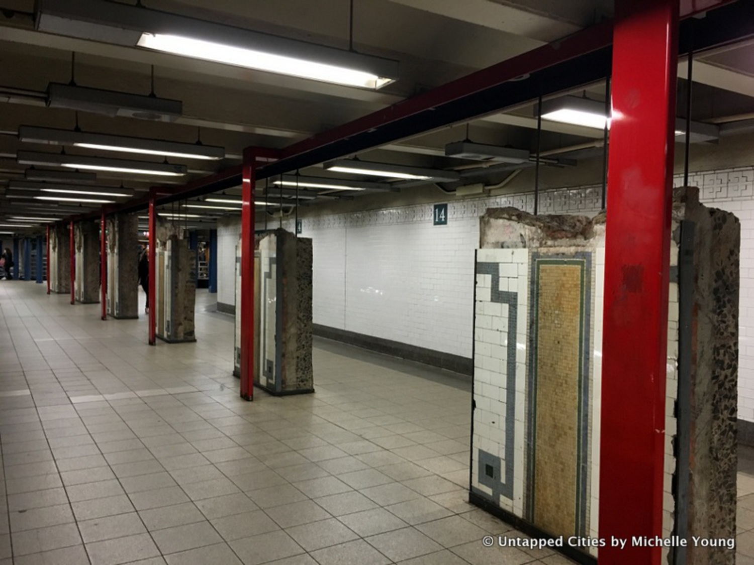 The pieces showcased come from a renovation of the Union Square station and range from large standalone wall pieces to infrastructural portions of the station – pipes, signage, and the like.