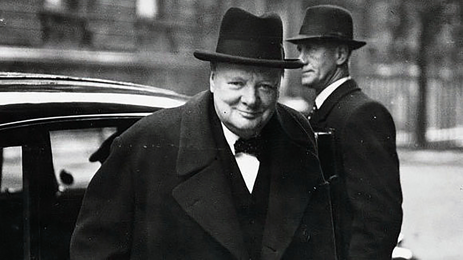 Winston Churchill on his way to the House of Commons, February 1943