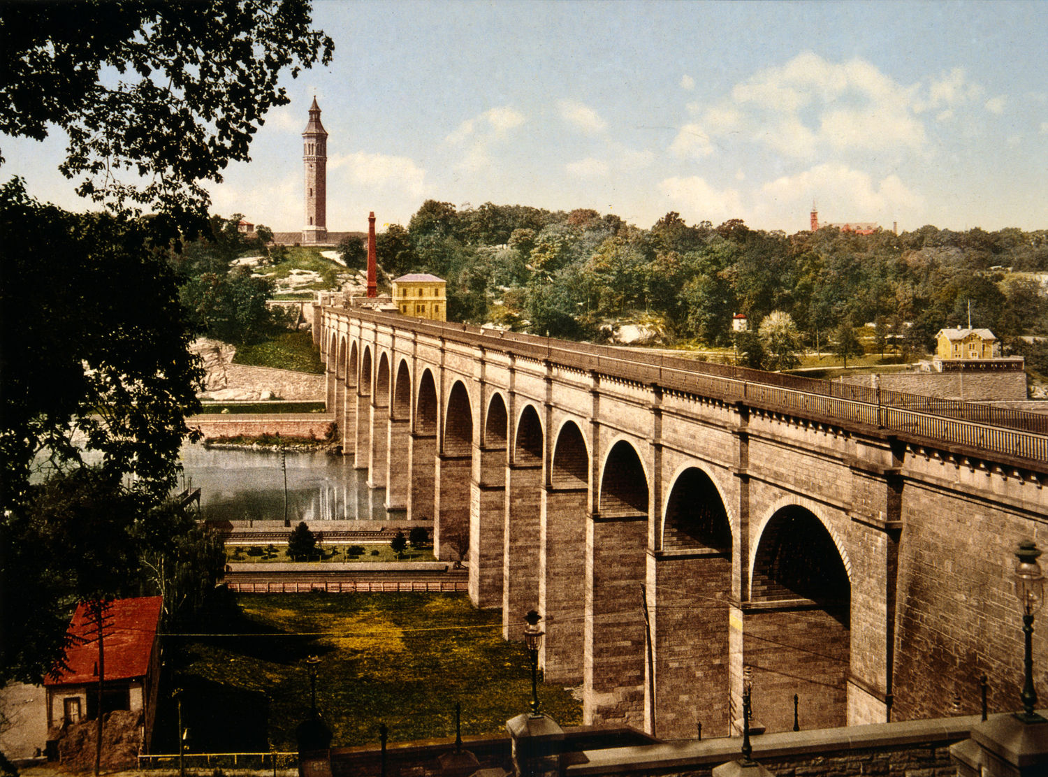 High Bridge: A print from 1900, showing original stone arches