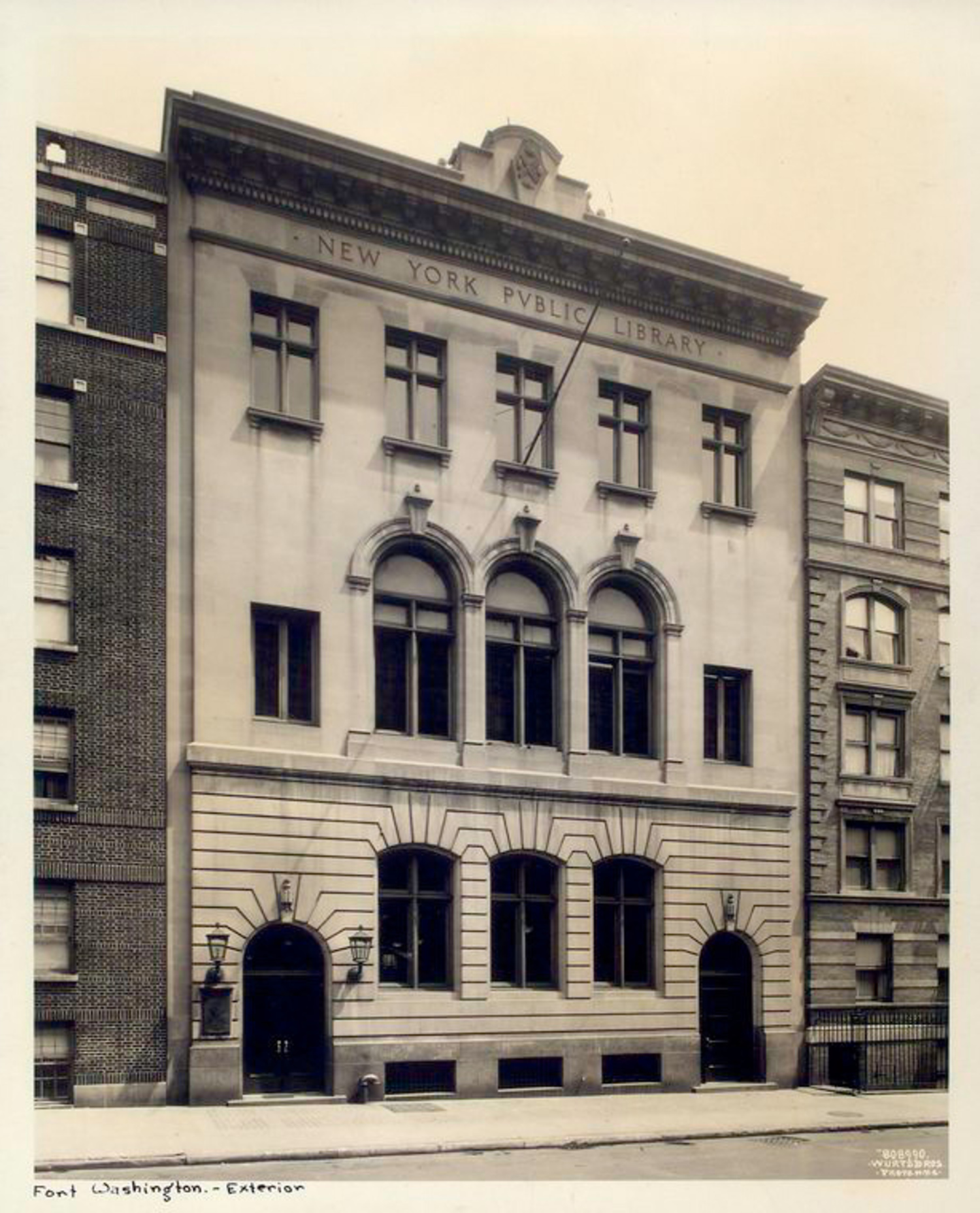 The exterior of the Fort Washington library the year it opened, 1914. The top floor windows are for the apartment.