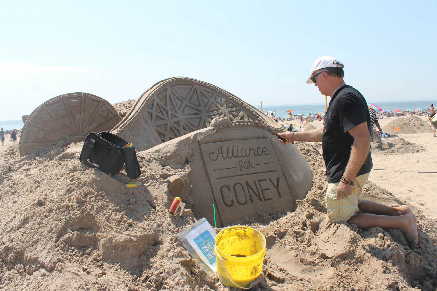 The Alliance for Coney Island, one of the contest's supporters, was represented on the beach.
