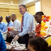 Mayor Bill de Blasio Volunteers in the Bronx