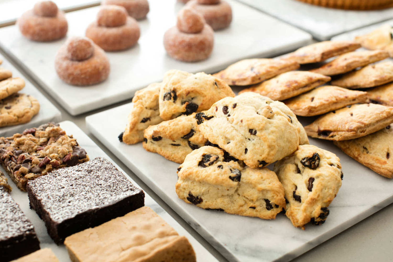 Bars, brownies, scones, doughnuts, and hand pies.