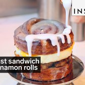 This breakfast sandwich has cinnamon rolls for buns