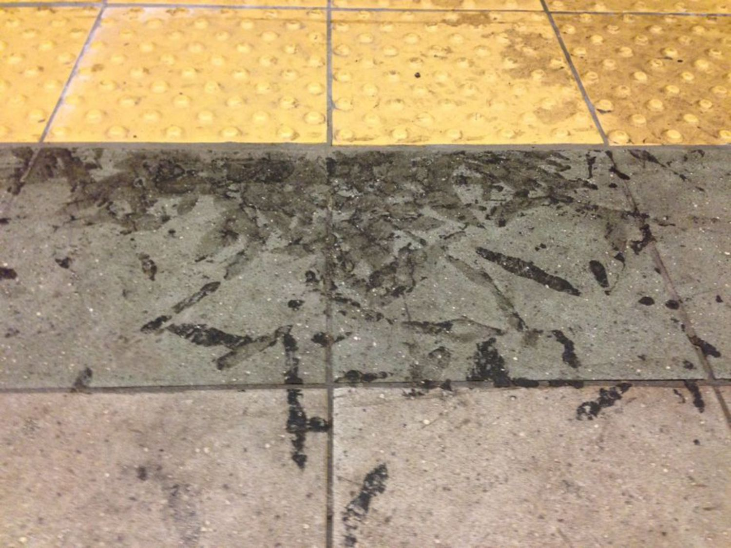 Pile of gunk on a NYC subway after clean-up.