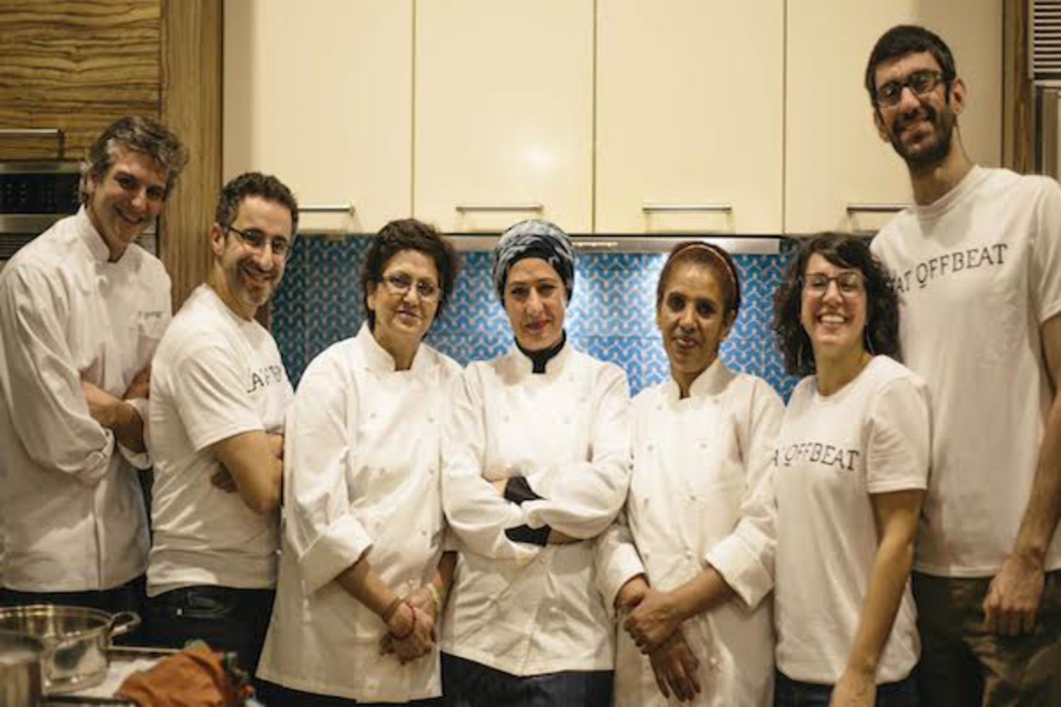 Left to right: Juan Suarez de Lezo, Chief Culinary Officer; Wissam Kahi, co-founder and COO; Rachana Rimal, chef; Nidaa al Janabi, chef; Mitslal Tedla, chef; Manal Kahi, founder and CEO; Christian Chemaly, tech advisor.