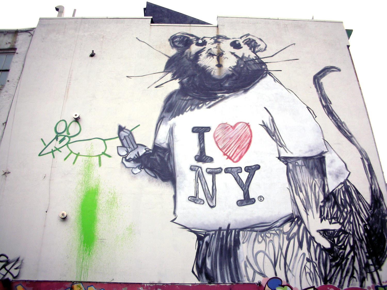 Viewing nyc for Banksy rat mural