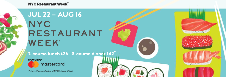 NYC Restaurant Week, Summer 2019, July 22 - Aug 16