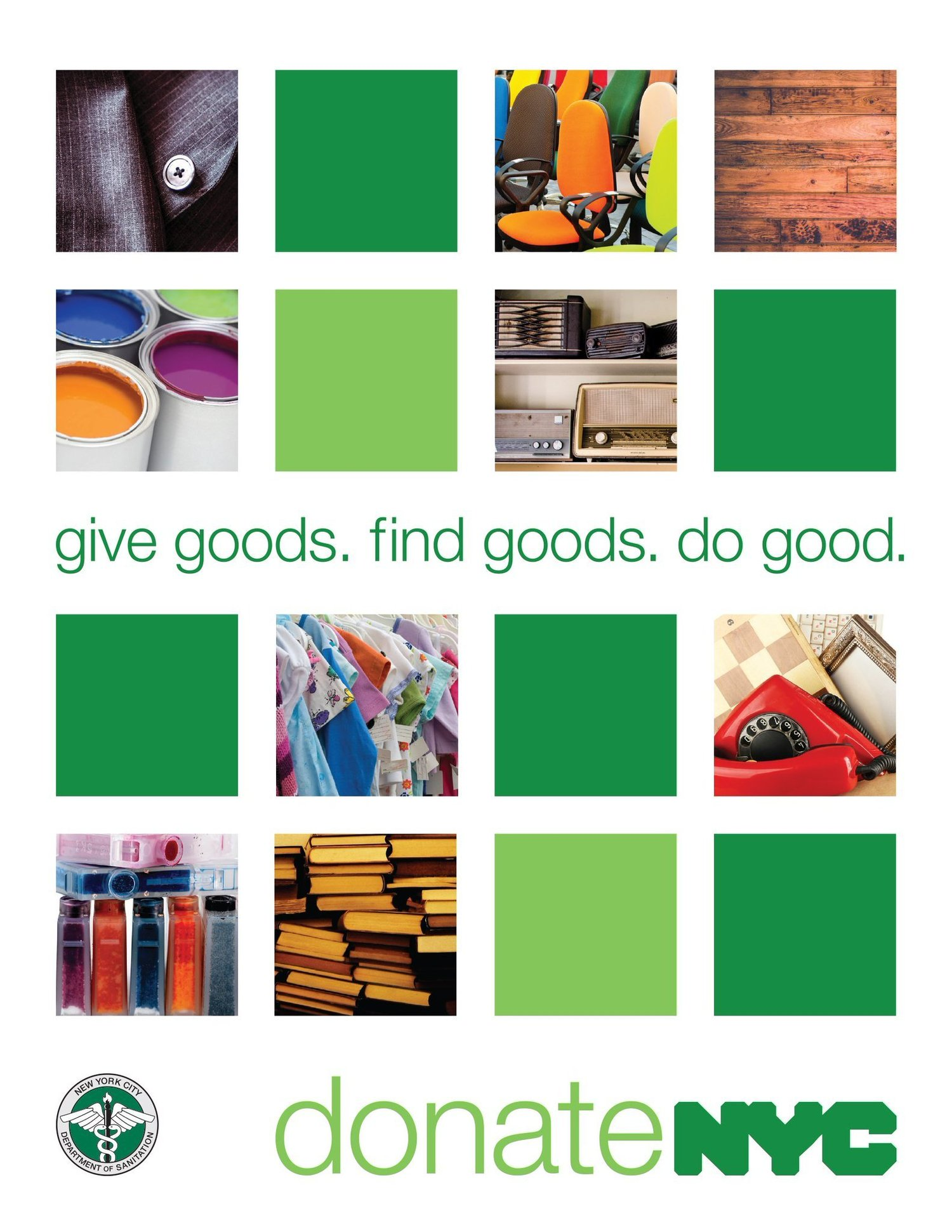 give goods. find goods. do good. donateNYC