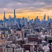 Sunset over Manhattan from Riverside Church bell tower, Morningside Heights