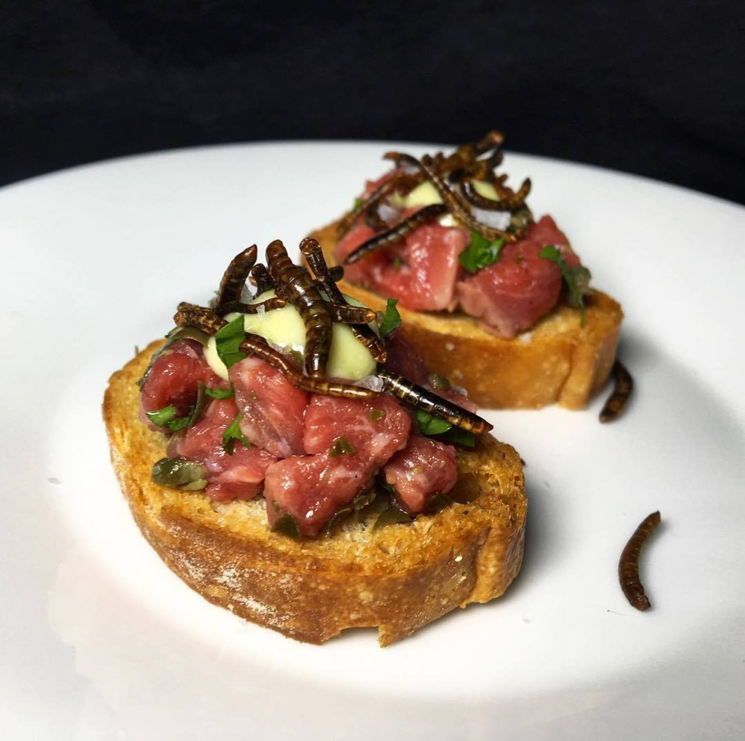 Come try these steak tartare crostinis with meal worms and wasabi aioli made by @dinnerecho at The Bug Banquet hosted by @thebugchef on Sat, Sept 2nd at @thebklynkitchen.