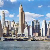 Lower New York from the foot of Brooklyn Bridge, 1932 (Colorized)