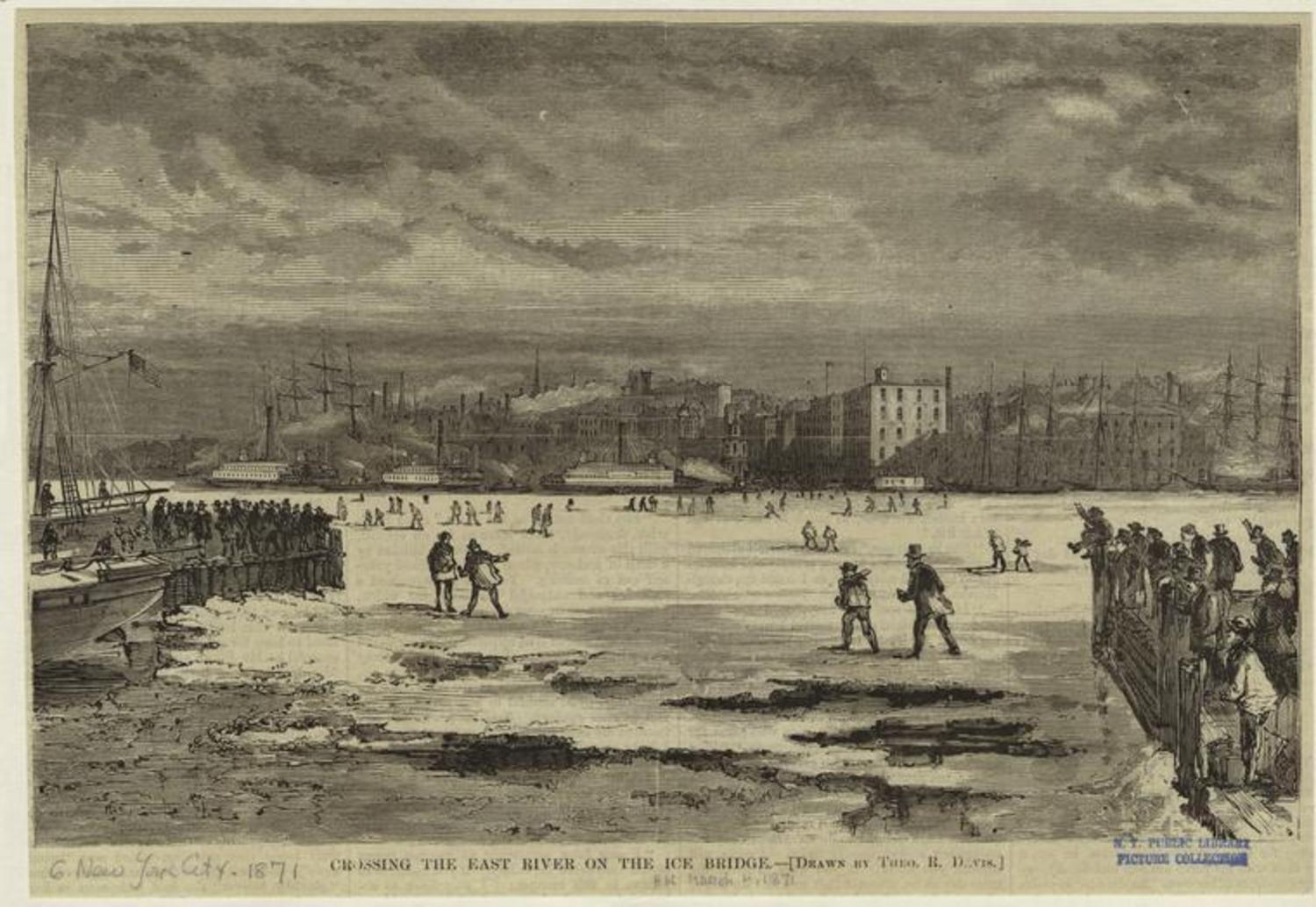 Crossing the East River on the ice bridge. 1871