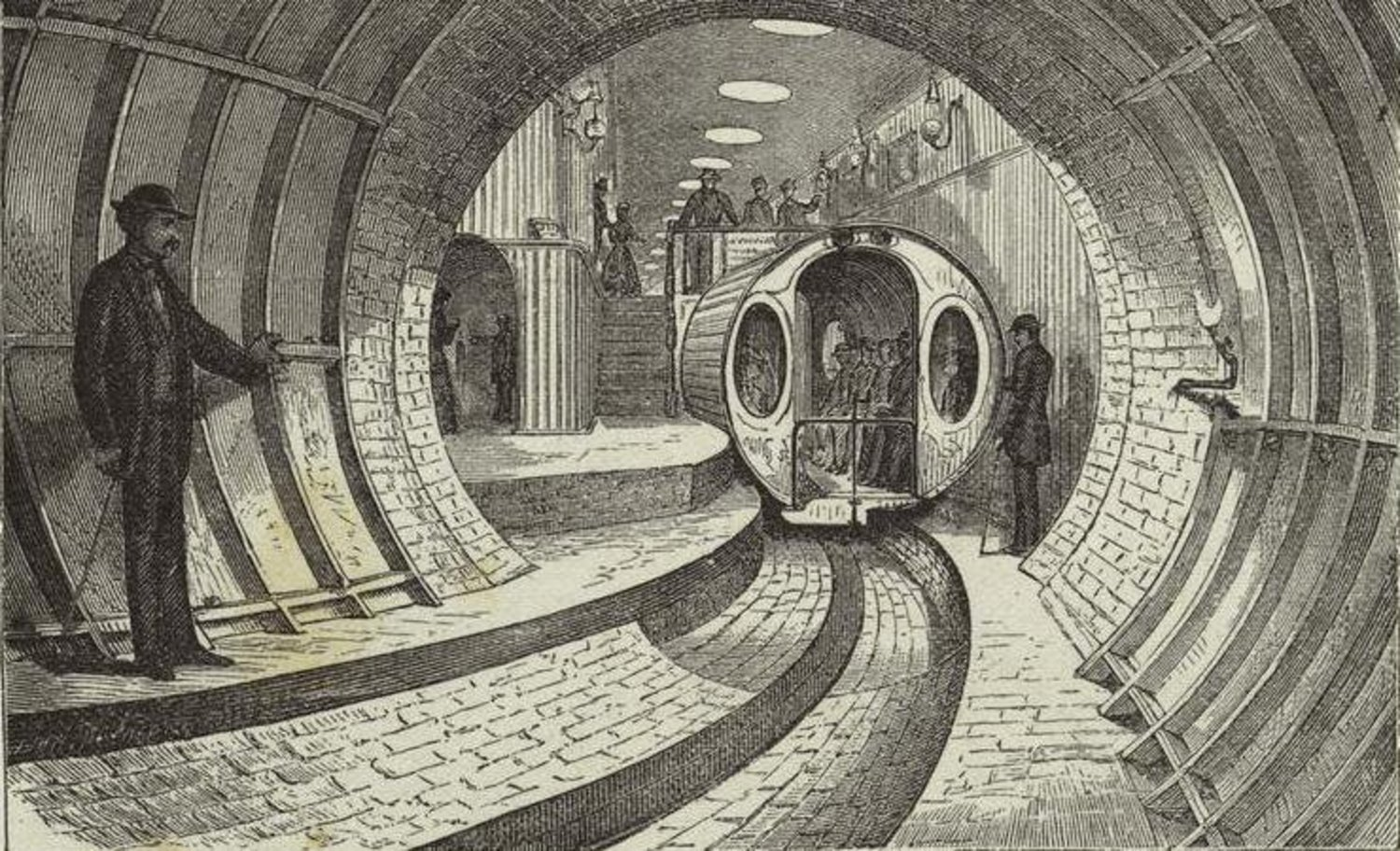 #TodayinHistory: In 1870, the #BeachPneumaticSubway, a single car moved by compressed air, opened to the public. http://t.co/xXhCzUChZP
