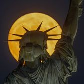 Moonrise Behind Statue of Liberty, Liberty Island, New York