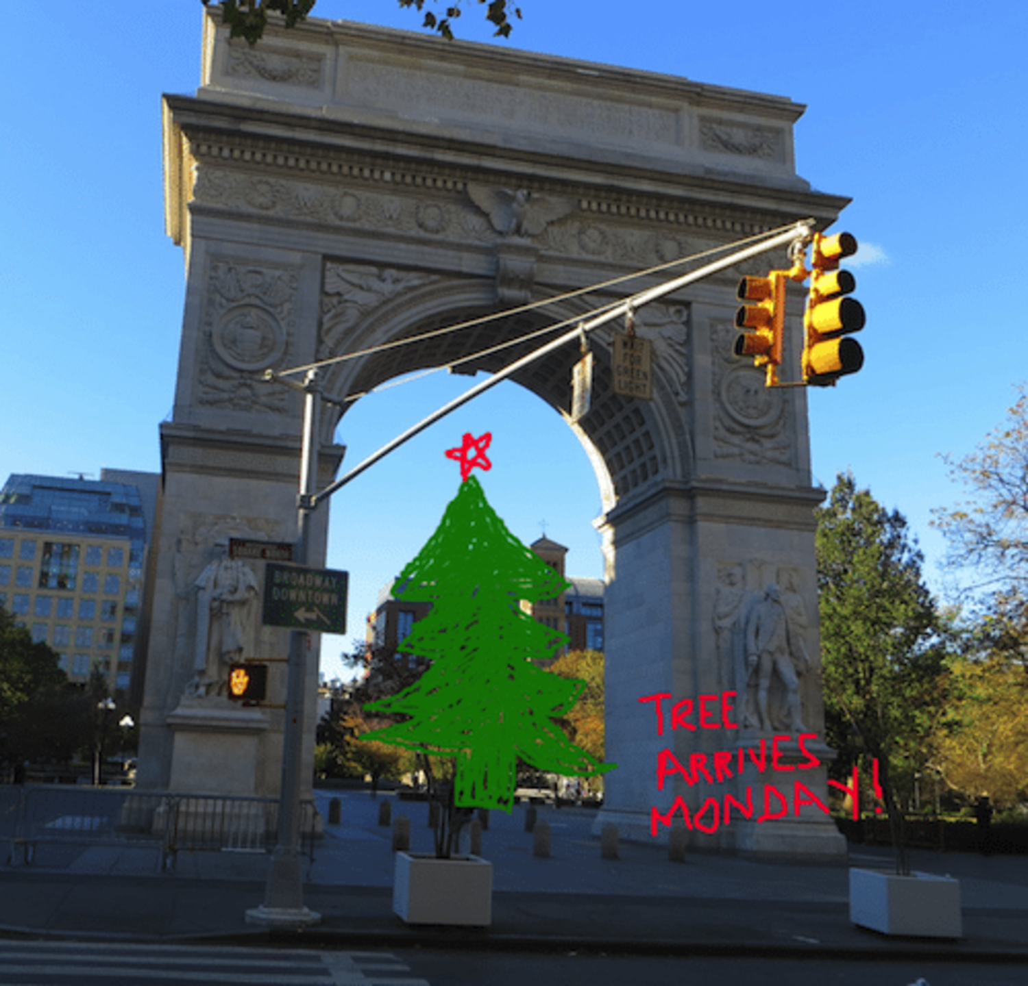 Washington Square Park Christmas Tree Arrives Monday, November 30th | Tree Lighting December 9th