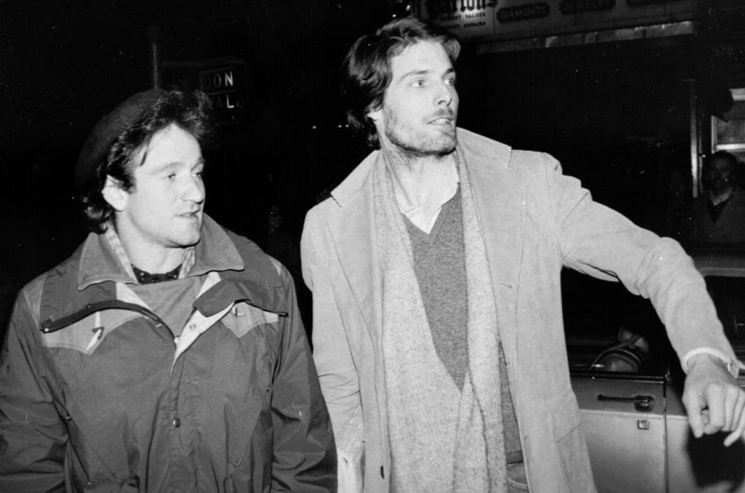 Robin Williams and Christopher Reeve attempt to hail a taxicab in New York City on Feb. 9, 1981. |  Photo by Steve Sands