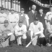 Aug 26, 1943 - Old timers game for war bonds, NYC (Babe Ruth's last appearance at bat)