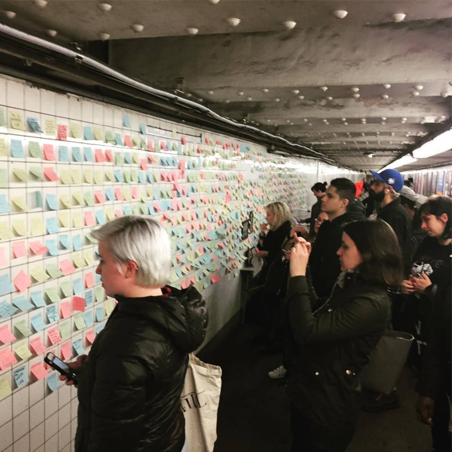 What an amazing day. 1,500 post it's, thousands of people. #subwaytherapy #expressyourself #humanity #subway #nyc #newyork