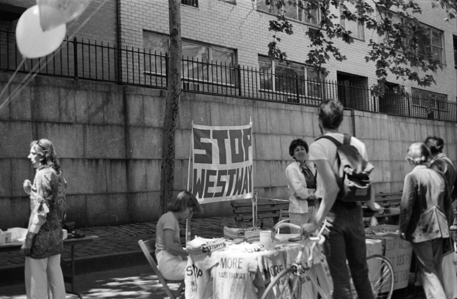 People demonstrating against the Westway highway project, New York City, July 6, 1977