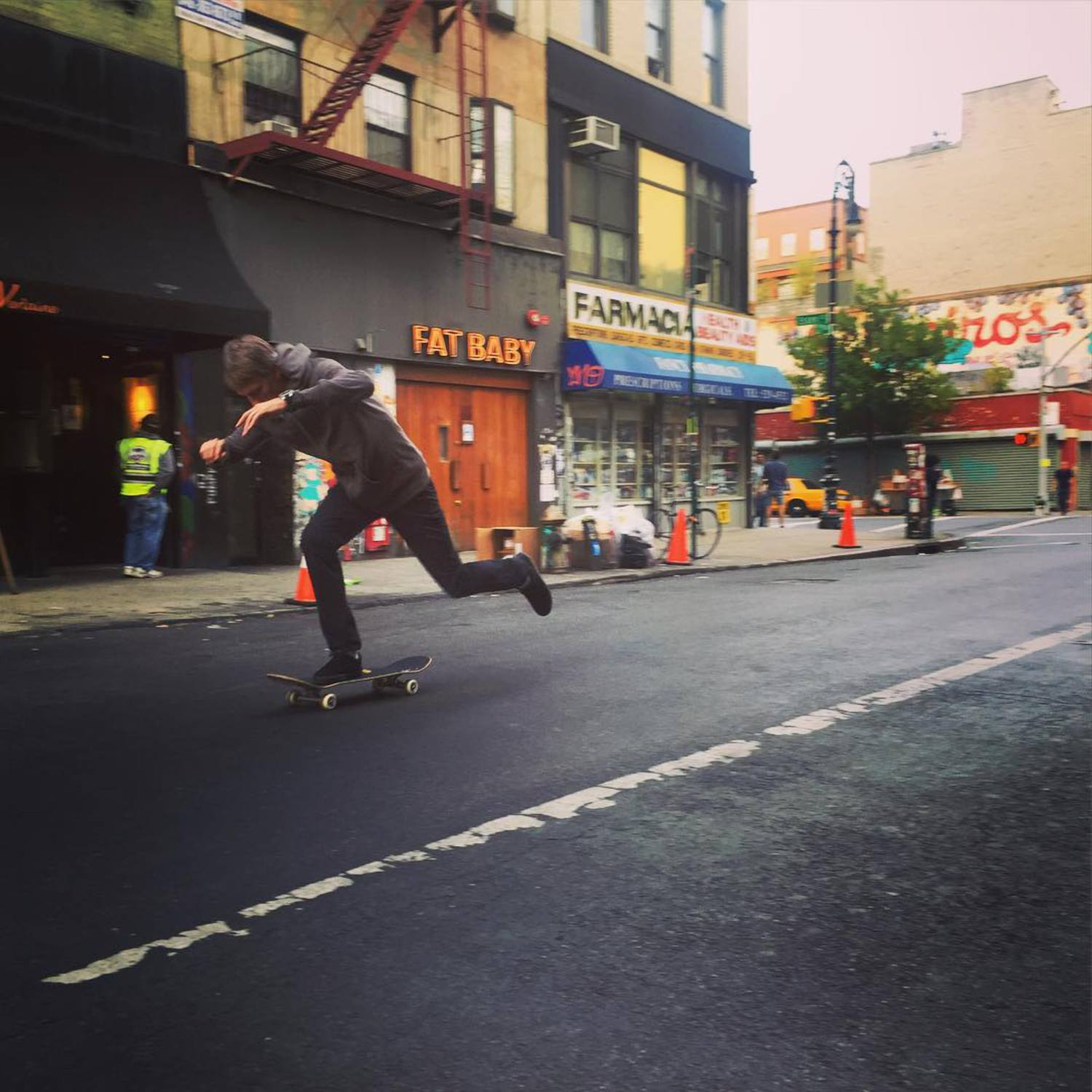 I'm skating around NYC right now. First person to stop me and ask for my board can have it. Update: I have been found Thanks to @hotelonrivington for hosting our crew all week!