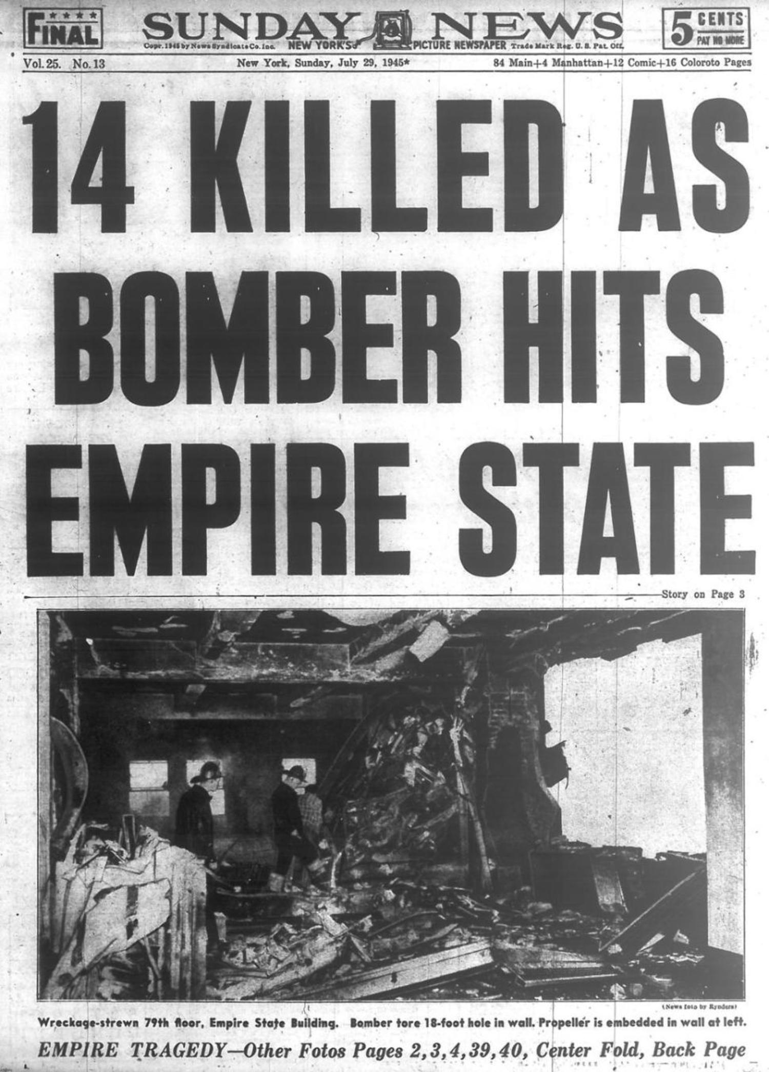 Image result for u s army bomber crashes in the empire state building